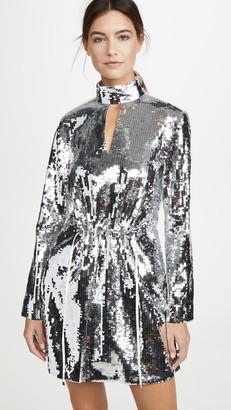 Tibi Split Neck Short Dress