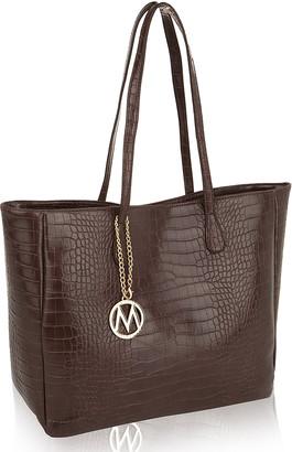 Mkf Collection By Mia K. MKF Collection by Mia K. Women's Handbags - Dark Brown Croc-Embossed Tote