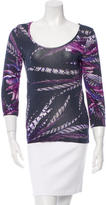 Just Cavalli Printed Scoop Neck Top