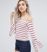 Boohoo Petite Stripe Bardot Top