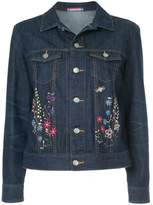GUILD PRIME floral-embroidered denim jacket