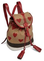 Burberry Kid's Leather-Trim Heart Check Backpack