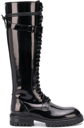 Ann Demeulemeester Knee-High Lace-Up Boots