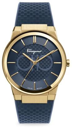 Salvatore Ferragamo Sapphire Yellow Gold IP Double Gancini Rubber Strap Watch