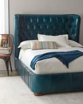 Forrest Tufted Leather King Shelter Bed