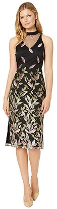Adrianna Papell Fluttering Leaves Sheath Dress (Black Multi) Women's Dress