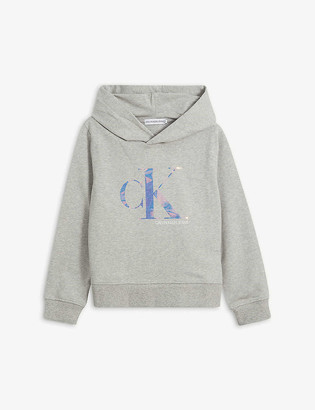 Calvin Klein Jeans Holographic logo-print cotton hoody 4-16 years