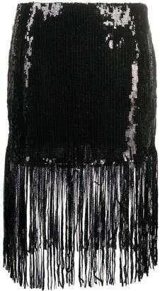 L'Autre Chose Fringed Short Sequin Skirt