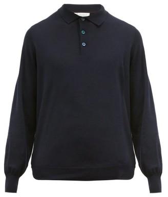 Brunello Cucinelli Virgin Wool-blend Polo Sweater - Mens - Navy