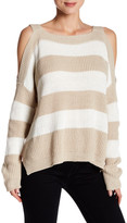Romeo & Juliet Couture Long Sleeve Cold Shoulder Stripe Knit Sweater