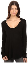 Heather Sweater Knit Woven Inset Long Sleeve Top