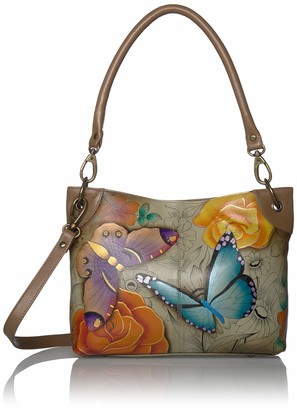 Anuschka Anna by Genuine Hand Painted Leather | Cross Body Hobo | Floral Paradise Tan