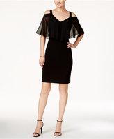 MSK Cold-Shoulder Chiffon-Overlay Sheath Dress