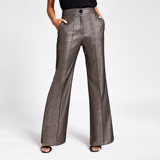 River Island Gold metallic high rise flare trousers