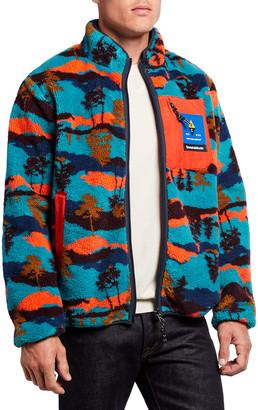 Scotch & Soda Men's Zip-Front Reversible Fleece & Nylon Jacket