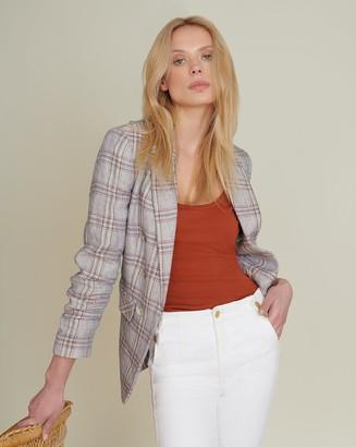 Veronica Beard Beacon Linen Plaid Jacket