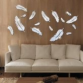 WMdecal 16pcs Birds Feather DIY Patterns TV Background Decor Mirror Surface Crystal Wall Stickers Acrylic 3D Home Decal Living Room Murals Wall Paper (Silver)