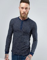 Edwin Oarsman Henley Long Sleeve Top Stripe Indigo
