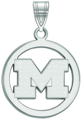 LogoArt Sterling Silver Michigan Wolverines Pendant in Circle