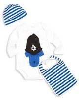 Burberry Baby's Three-Piece Police Dog Bodysuit, Hat & Bib Set