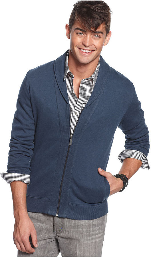 Kenneth Cole Reaction Sweater, Zip Front Shawl Cardigan