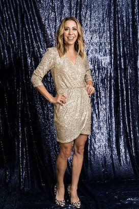 Gibson Sequin Faux Wrap Dress