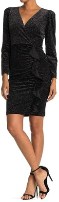 Calvin Klein Sparkle Velvet Side Ruched Dress