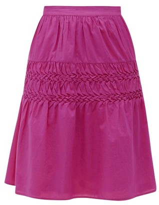 Merlette New York Castell Smocked Cotton-lawn Skirt - Womens - Dark Pink