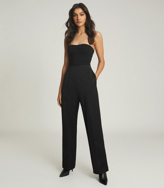 Reiss BOBBI CROPPED BUSTIER TOP Black
