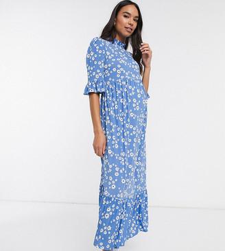 ASOS DESIGN Maternity daisy smock dress in blue