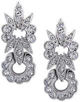 Nina Silver-Tone Swarovski Crystal Floral Drop Earrings