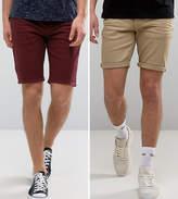 Asos 2 Pack Skinny Denim Shorts In Burgundy And Stone Save