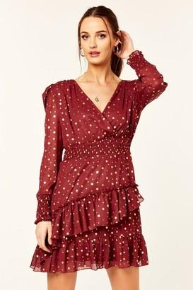 Gini London Burgundy Shimmer Balloon Long Sleeve Ruffle Mini Dress