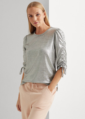 Ralph Lauren Metallic Ruched Cotton-Blend Top