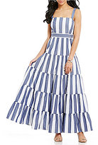 Eliza J Sleeveless Striped Tiered Maxi Dress