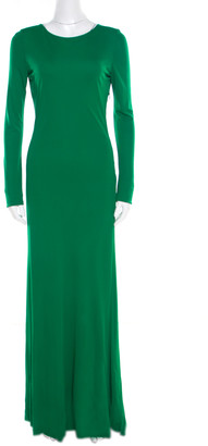 Roberto Cavalli Green Crepe Knit Plunge Back Draped Evening Gown M