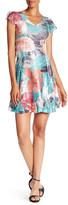Komarov V-Neck Cap Sleeve Floral Printed Dress