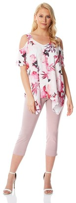 M&Co Roman Originals cold shoulder floral hanky hem top