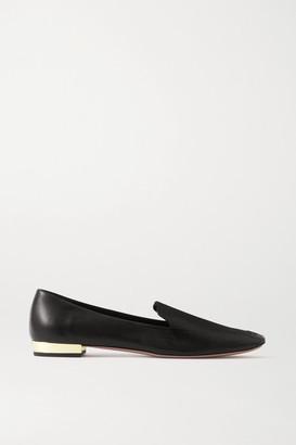 Aquazzura Greenwich 10 Leather Loafers - Black