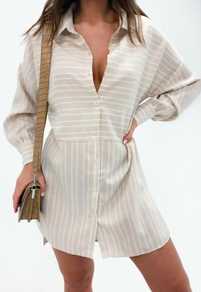 Missguided Stone Stripe Dip Back Shirt Dress