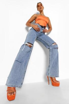 boohoo Baggy Distressed Detail Split Hem Jeans