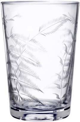 Six Hand-Engraved Crystal Tumblers With Ferns Design