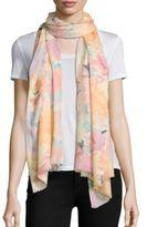 Bindya Brushstroke-Print Cashmere & Silk Scarf
