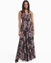 White House Black Market Paisley Print with Removable Scarf Maxi Dress