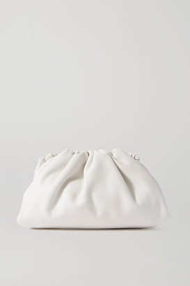 Bottega Veneta The Pouch Small Gathered Intrecciato Leather Clutch - White