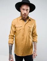 Asos Regular Fit Silk Shirt In Mustard