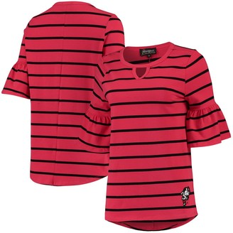 Women's Scarlet Ohio State Buckeyes Go with the Flow Striped Keyhole T-Shirt