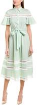 Lela Rose Silk-Blend Midi Dress