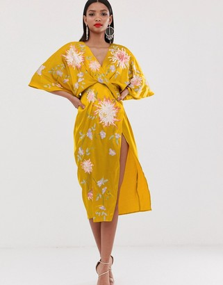 Asos Design DESIGN satin kimono midi dress with floral embroidery-Gold