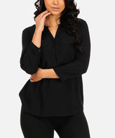 Solid Black Roll-Tab Sleeves Notch Neck Top